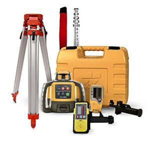 Topcon Rl h5a Self Leveling Rotary Laser Level Ld 8 Receiver 14 Foot Rod Tripod