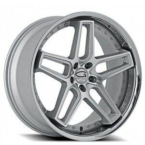 4wheels 22 Staggered Giovanna Wheels Austin Silver Machined Rims