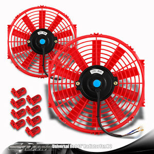 2x Red 12 High Performance Electric Cooling Pull Slim Radiator Fan For Dodge