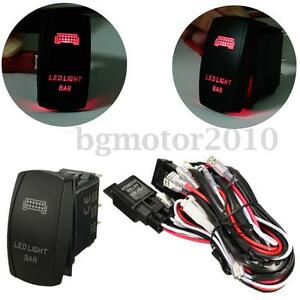 12v 300w Relay Fuse Wiring Harness Red Led Light Bar On Off Laser Rocker Switch