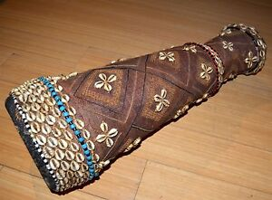 Vintage Kuba Tribe African Wood Ceremony Drum Cloth Cowrie Beads Congo Africa