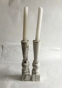 Two 2 Reclaimed Wood Candlesticks Shabby Candle Holders Antique White D25