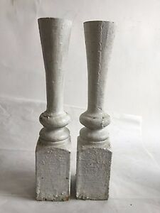 Two 2 Reclaimed Wood Candlesticks Shabby Candle Holders Antique White D27