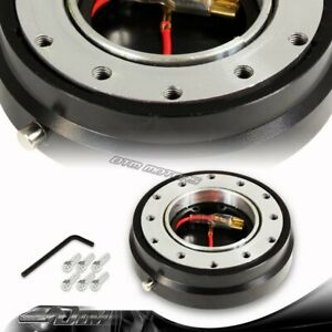 1 Black 6 Hole Steering Wheel Short Quick Release Hub Adapter Kit Universal 4