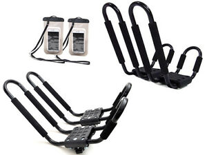 2 Pair Kayak Carrier Boat Ski Board Roof Top Mounted Rack W Free Cell Phone Case