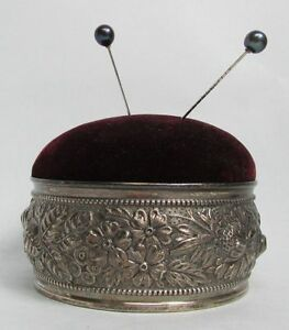 Marvelous 1890 Gorham 3d High Relief Repousse Sterling Silver Pin Cushion
