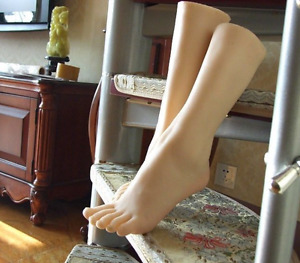 1 Pair Soft Silicone Lifesize Female Leg Foot Mannequin Display Shoes Size 36