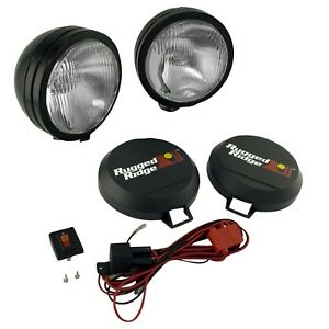 Rugged Ridge 15205 51 6 Round Hid Off Road Fog Light Kit W Black Steel Housing