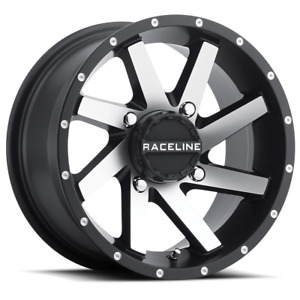 Set 4 14x7 4x1 4x156 Raceline Twist Black Wheels Rims 14 Inch 46798
