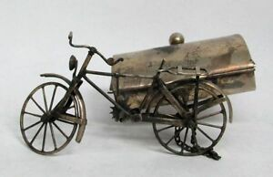 Figural Antique Sterling Silver Mexico Bicycle With Casket Ash Tray