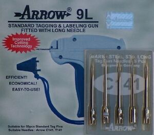 1 Arrow 9l Standard Long Neck Tag Gun 5 Spare Needles Combo Price Label With