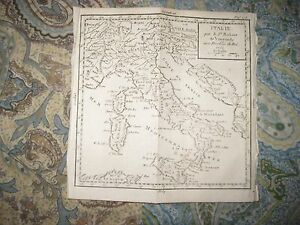 Early Antique 1750 Italy Copperplate Vaugondy Map Catholic Church Lands Sicily N