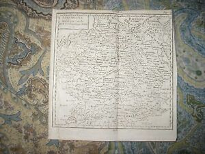 Early Antique 1750 Germany Into Circles Copperplate Vaugondy Map Date In Title