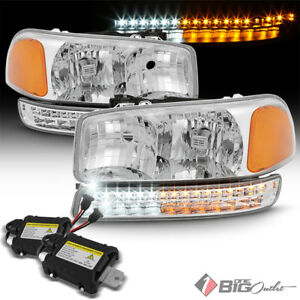 For 99 06 Sierra Yukon Headlights W Drl Led Signal Built in Xenon Hid Kit
