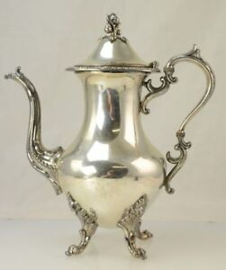 Goldfeder Silver Co Birmingham Victorian Silverplate Footed Floral Coffee Pot