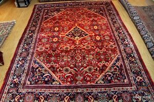 Circa 1930 S Antique Persian 9 X 13 Authentic Handmade Rug Red Wool Pm75