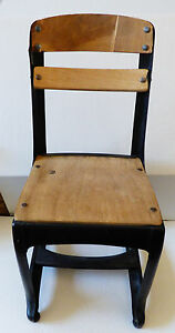 Vtg Child S School Small Chair Wood And Metal Black Enamel