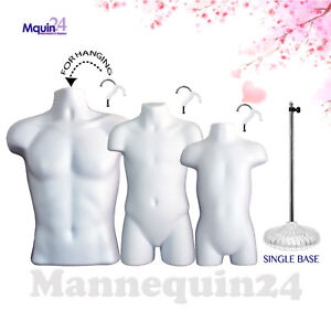 3 White Mannequins Male Child Toddler Torso Body Forms 3 Hangers 1 Stand