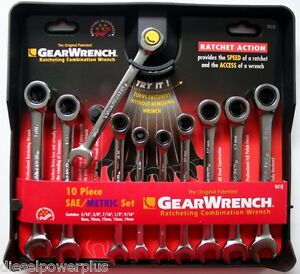 Gear Wrench Ratchet Combination 10 Piece Set On Metric Tool Box Garage Shop Snap