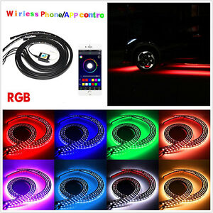 4 X Waterproof Multi color Led Car Chassis Light Strip Tube Lamp App Control