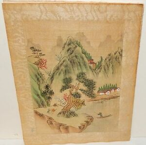 Chinese River Villages Small Watercolor On Silk Painting Unsigned