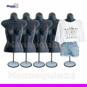 A Lot Of 5 Black Female Torso Mannequins W 5 Stands 5 Hangers Woman Clothings