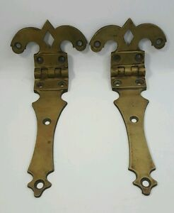 Pair Of Antique Solid Brass Door Hinges Decorative Fleur De Lis Large And Used