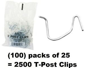 100 Ea Mat 901169b 25 Packs T post Fence Post Clip Fasteners