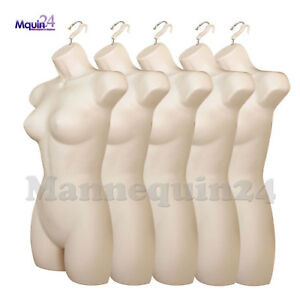 A Lot Of 5 Mannequin Female Torsos Flesh Women s Plastic Hanging Dress Form