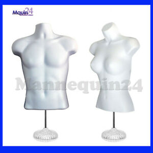 White Mannequin Male Femlae Dress Forms With 2 Table Top Stands 2 Hangers