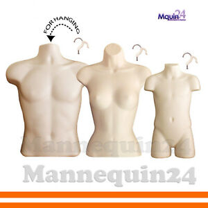 3 Flesh Mannequin Torsos set Of Male Female Child Hanging Body Forms 3 Hangers