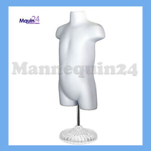 Toddler Mannequin Torso W Stand Hanger White Hollow Back Kids Dress Form