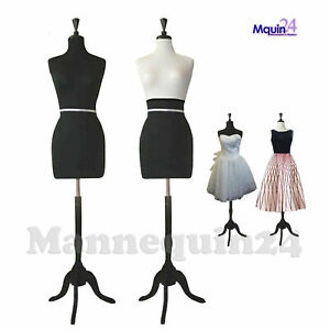 Black Female Mannequin Torso Dress Form Display W Black Tripod Stand