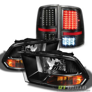 Blk Set 2009 2018 Dodge Ram 1500 2500 3500 Headlights Full Led Tail Lights Lamps