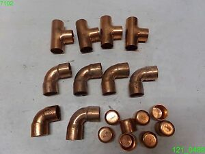 Mixed Lot Of 18 Copper Fittings 1 Tee Elbow End Cap