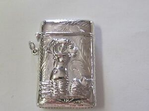 Mermaid Design With Etching Sterling Silver Match Safe Vesta New