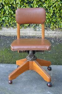 Vintage Small Wooden Seng Bolens Brown Office Swivel Desk Courtroom Chair Rare
