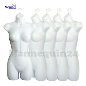 New 5 White Mannequin Female Torsos Lot Of 5 Plastic Hanging Dress Forms