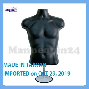Male Mannequin Torso Form Black Dress Form W Stand Hanging Hook