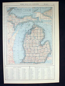 Antique Map 1921 Color State Of Michigan Or Minnesota