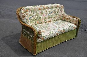 Indoor Wicker Love Seat With Cushions