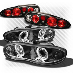For 98 02 Camaro Black Halo Projector Headlights Altezza Style Tail Lights