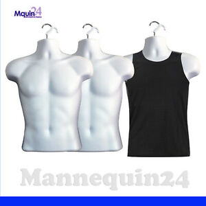 3 Mannequin Male Torsos 3 White Plastic Men s Hanging Dress Forms With 3 Hooks
