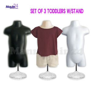 3 Mannequin Toddlers lot Of Black Flesh White Kids Torsos W 3 Stands