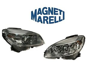 For Mercedes W204 C300 Pair Set Of Two Bi xenon Headlights Assembly Oem Marelli
