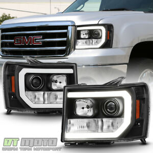 Black 2007 2013 Gmc Sierra 1500 2500hd 3500hd Led Drl Tube Projector Headlights