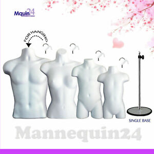 4 Torso Forms White Male Female Child Toddler Body Forms W 1 Stand