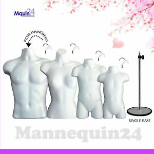 4 Mannequin Torsos White Male Female Child Toddler Form Set 4 Hangers 1 Stand