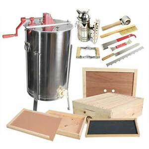 Goodland Bee Supply 2 Frame Honey Extractor With Bee Brood Box Hive Tool Kit