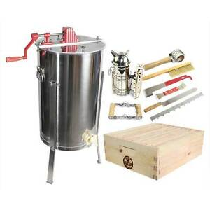 2 Bee Hive Frame Honey Extractor 1 Complete Super Box With Plastic Foundation